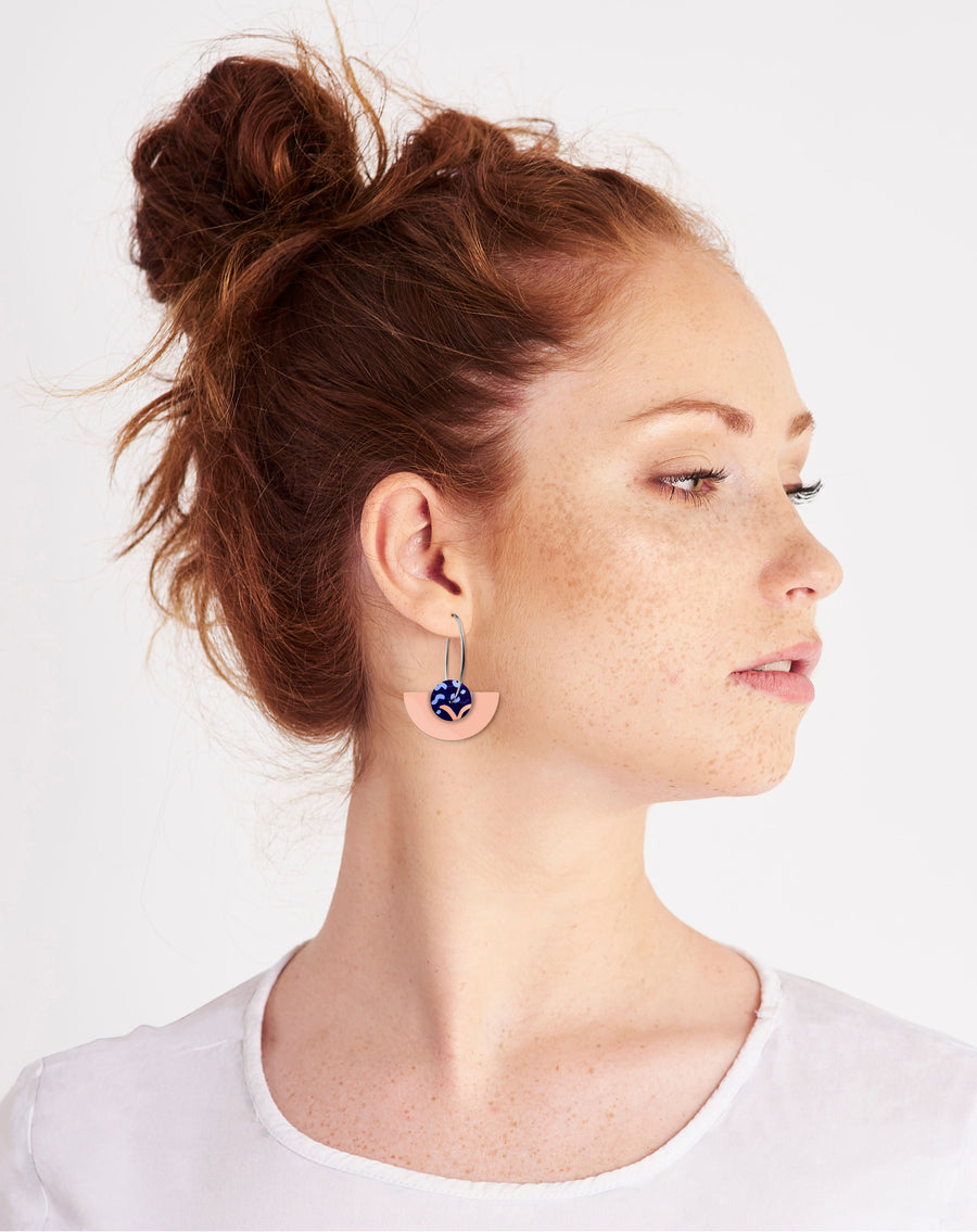Water Joan Blond Layered Medium Moon Hoop Earrings