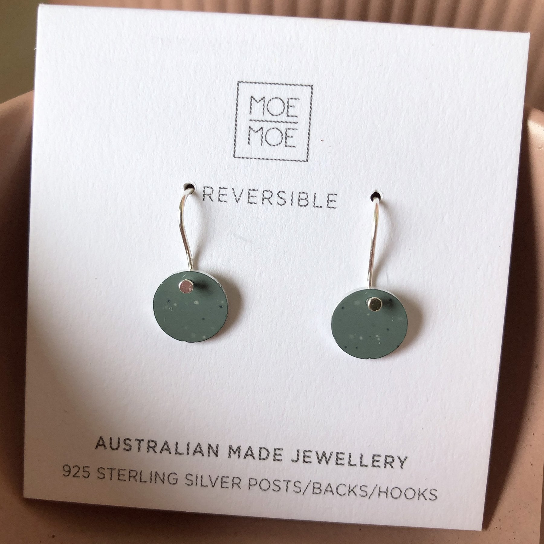 Sage Clay Mini Circle Drop Earrings