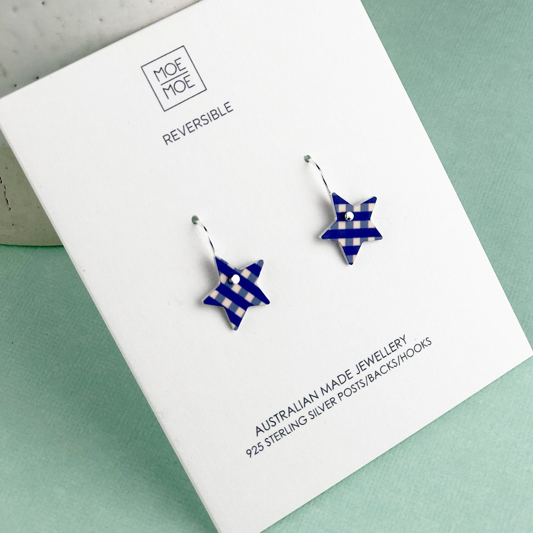 Blue and Peach Gingham Small Star Drop Earrings