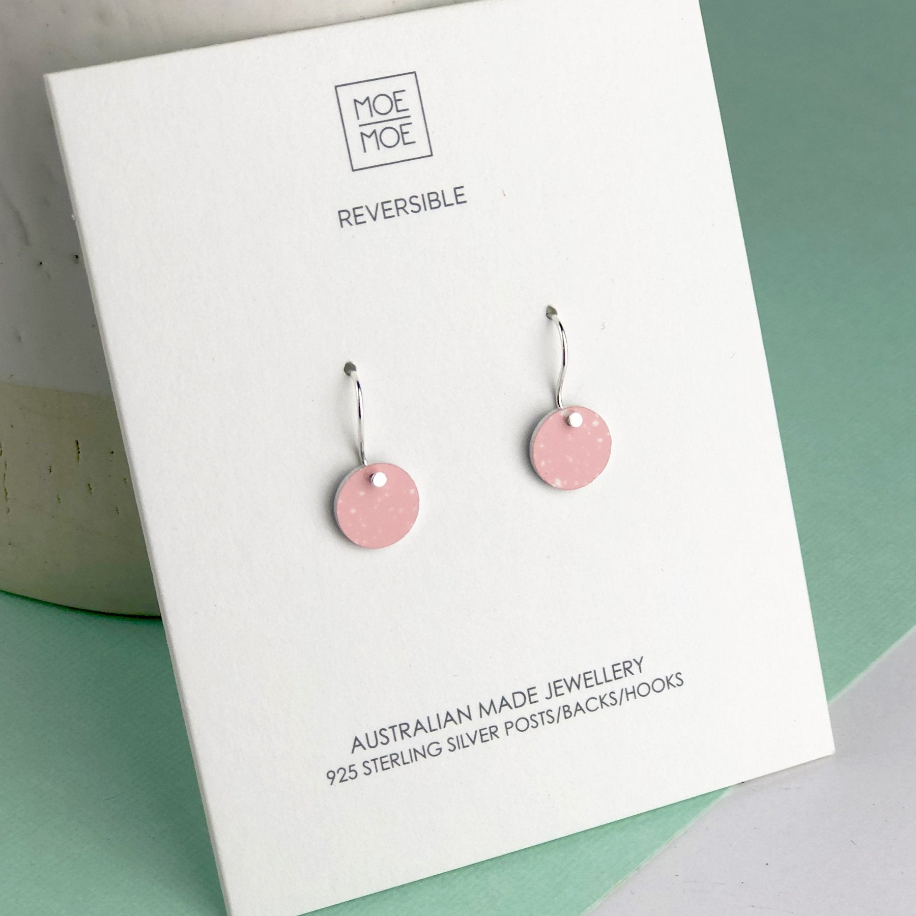 Speckled Pink Mini Circle Drop Earrings