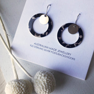 Tortoise Shell Gold Disc Outline Circle Drop Earrings
