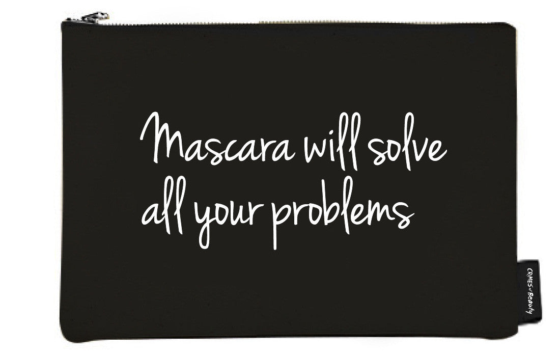 BLACK CANVAS MAKEUP BAG MASCARA WILL SOLVE ALL YOUR PROBLEMS