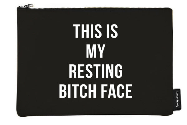BLACK CANVAS MAKEUP BAG THIS IS MY RESTING BITCH FACE
