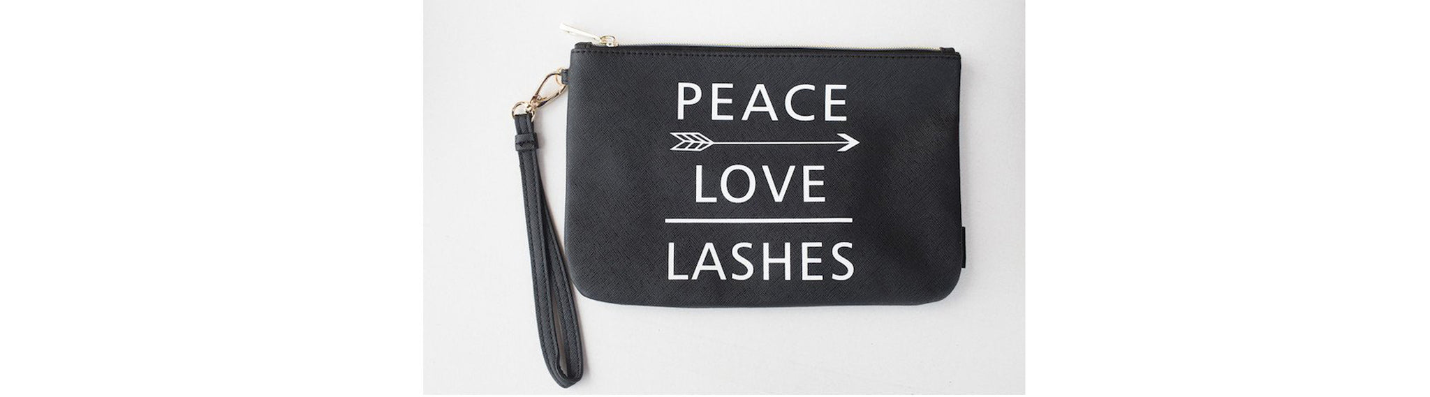 LARGE WRISTLET MAKEUP BAG PEACE LOVE LASHES
