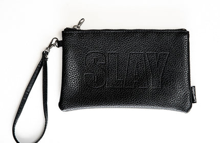 Wristlet Embossed Makeup Bag- SLAY