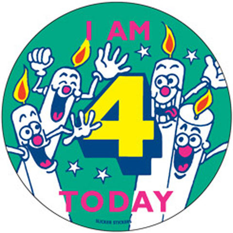 #242 I Am 4 Today Large Birthday Sticker