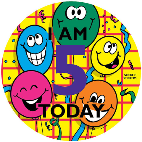 #243 I Am 5 Today Large Birthday Sticker