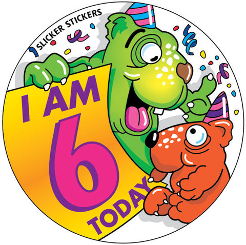 #244 I Am 6 Today Large Birthday Sticker