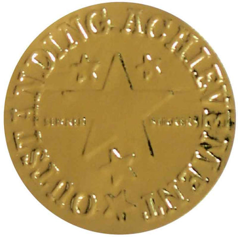 #581 Outstanding Achievement Embossed Gold Metallic Stickers