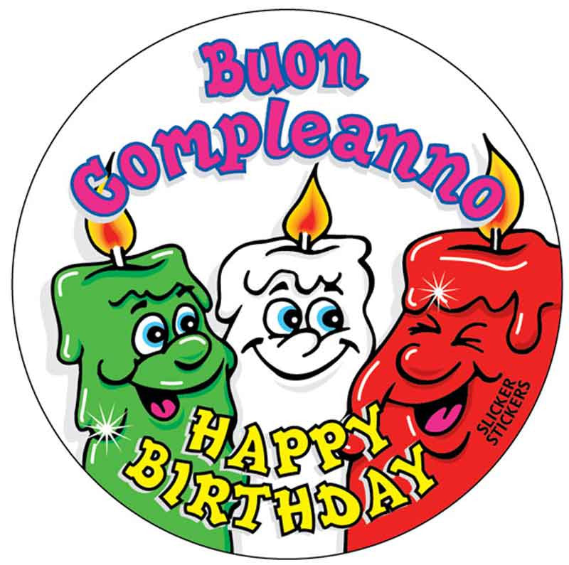 #788 Buon Compleanna - Italian Happy Birthday Stickers