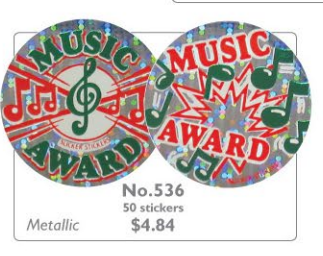 #536 Music Award Holographic Stickers