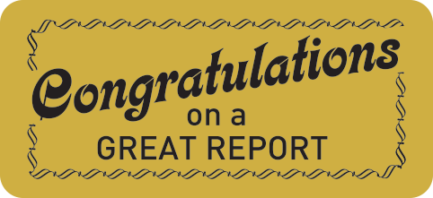 #585 Congratulations On A Great Report Metallic Stickers
