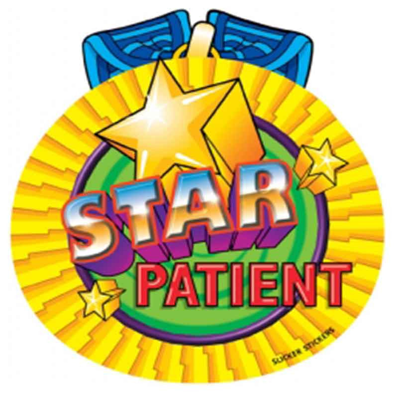 #70 Star Patient Large Stickers