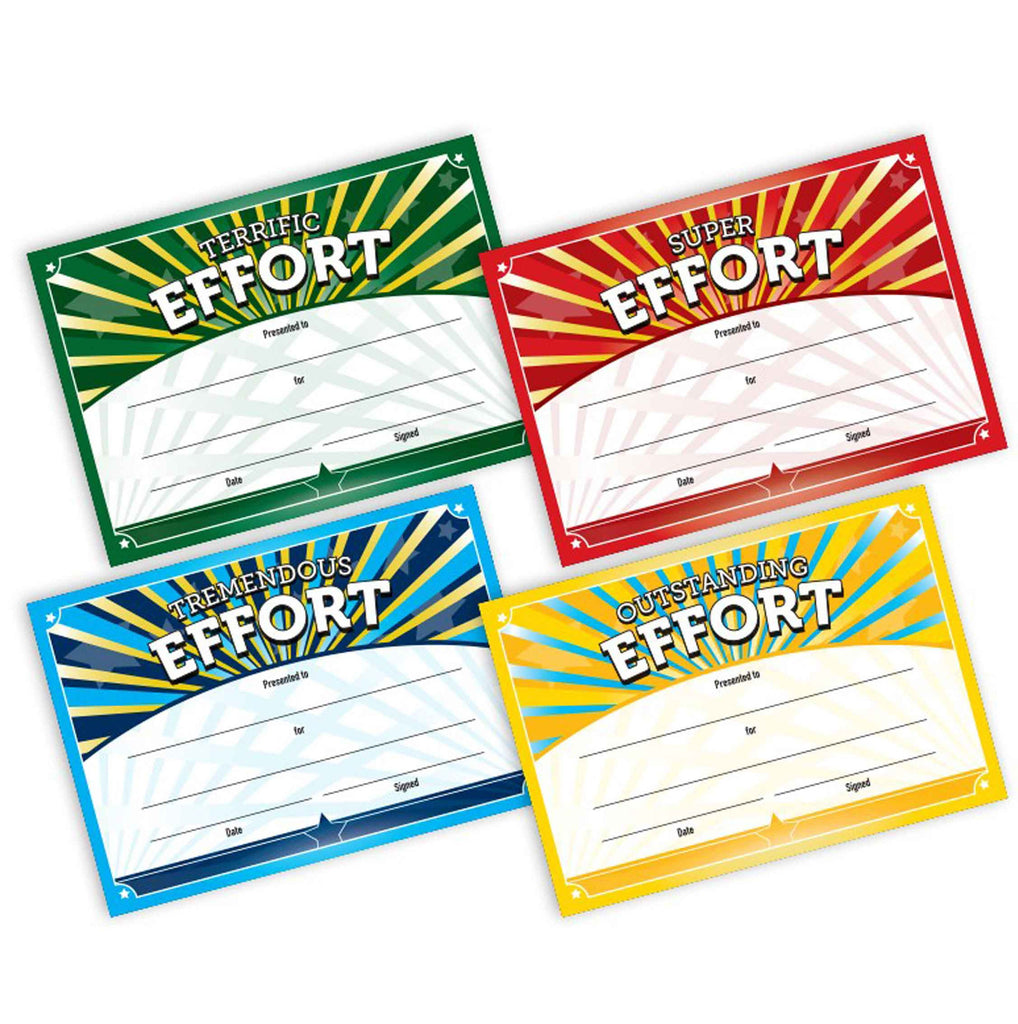 5871 Terrific, Super, Tremendous & Outstanding Effort Certificates (100 per pack)