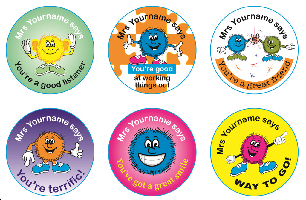 Personalised Teacher Stickers - Fuzzy Friends #2