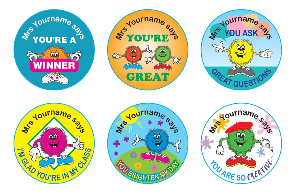 Personalised Teacher Stickers - Fuzzy Friends