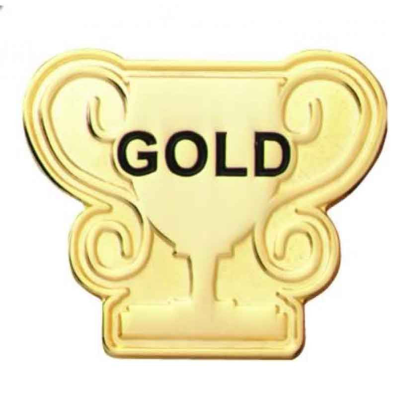 #E80 Gold Trophy Enamel Badge - pack of 5