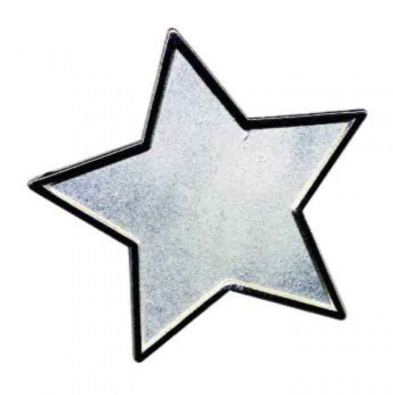 #E94 Silver Star Enamel Badges - pack of 5