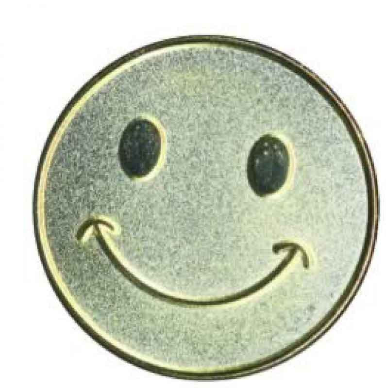 #E99 Gold Smiley Face Enamel Badges - pack of 5