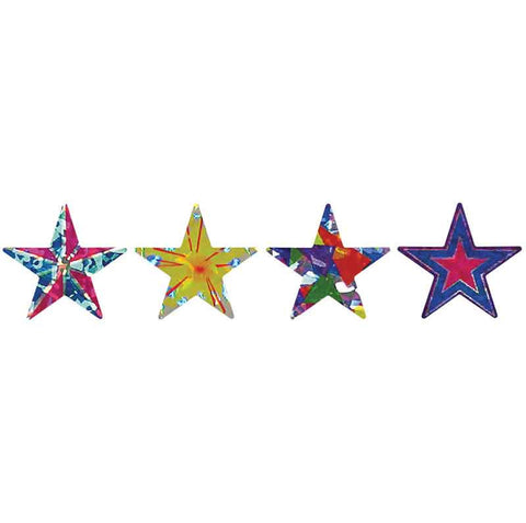 #344 Holoprism Patterned Star Stickers Multipack