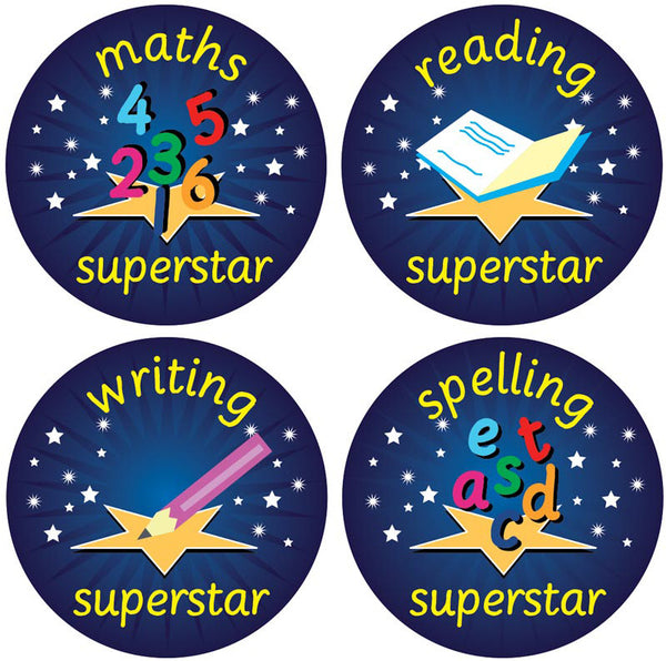 Superstar stickers set school merit solutions for Medical chart letter stickers