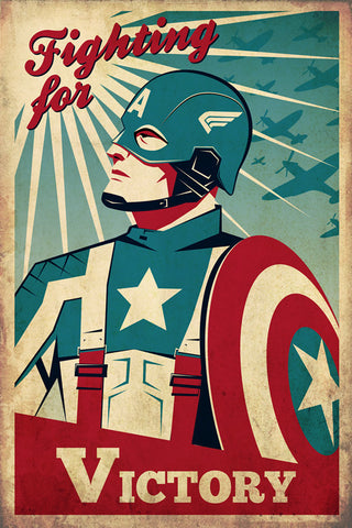Ollie Boyd 'Captain America Fighting for Victory' propaganda poster