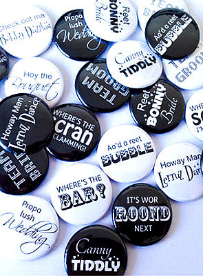Unique Geordie wedding favour badges (pack of 25)