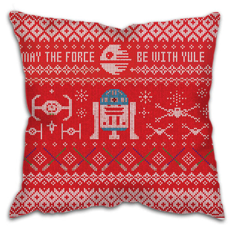 "Cushion - Star Wars Christmas ""May the Force be with Yule"" UNIQUE to Striking Image!"