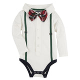White with Hunter Green Suspenders Polo Shirtzie - Shopify