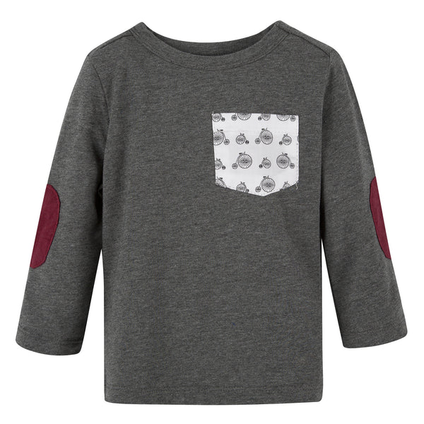 Grey with Bike L/S Pocket Tee - Shopify