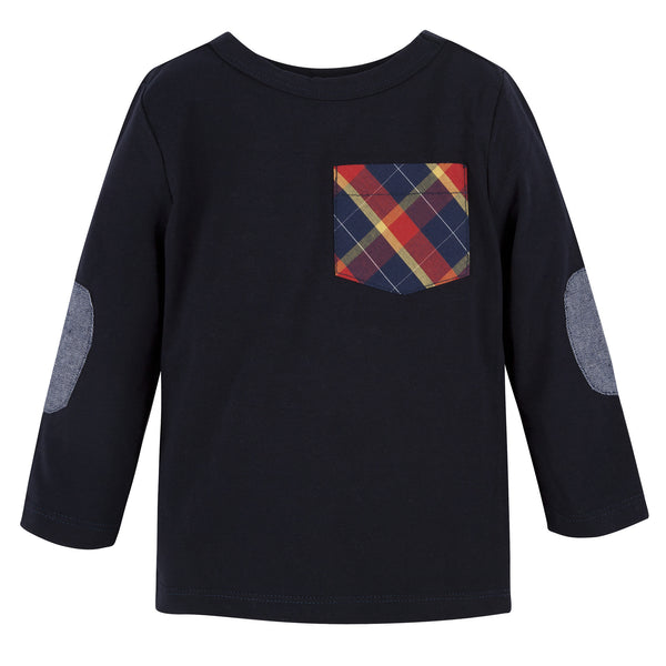 Navy with Plaid L/S Pocket Tee - Shopify