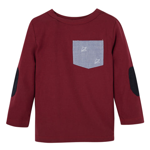 Maroon with Planes L/S Pocket Tee