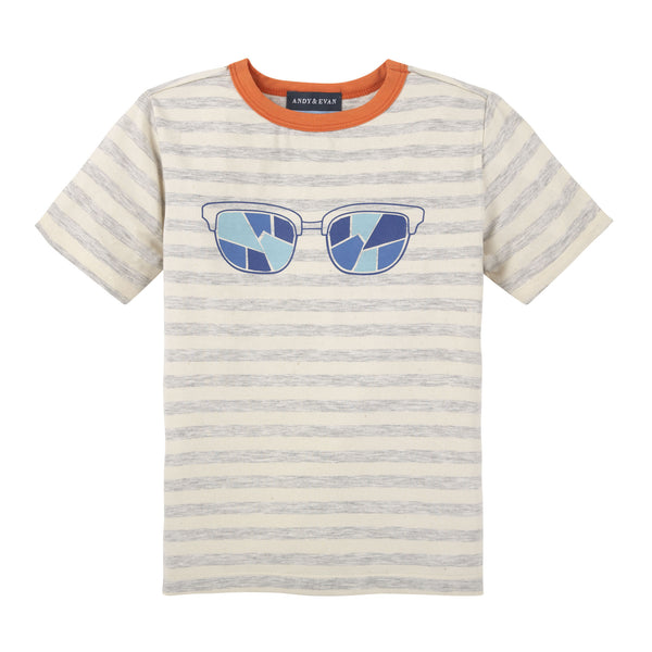 Glasses T shirt Grey Stripe - Shopify
