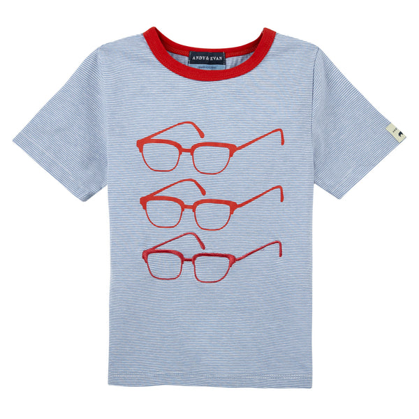 Glasses T shirt Blue Stripes - Shopify