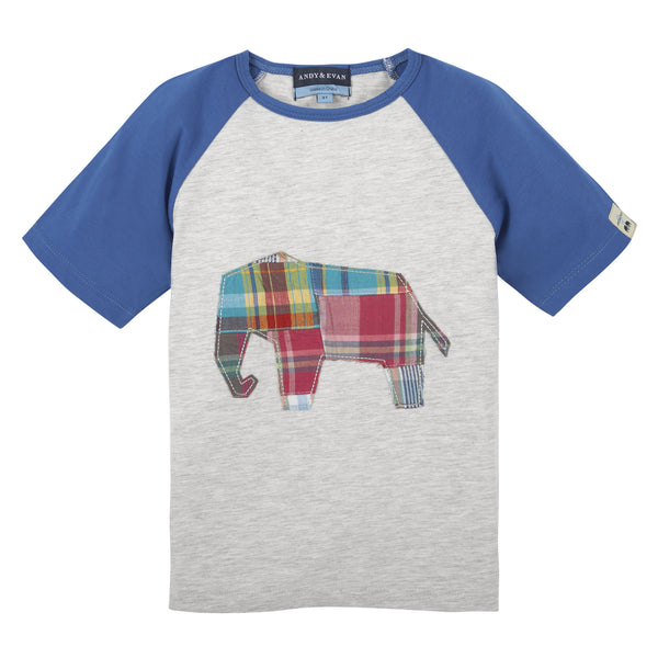 Elephant Tee Heather Grey & Blue - Shopify