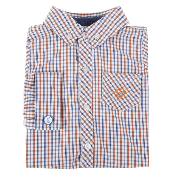 Orange and Navy Check Bicycle Cuff Link Shirt
