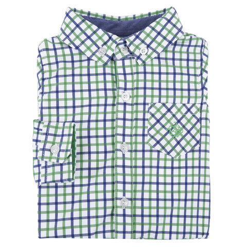 Green and Blue Open Check Shirt