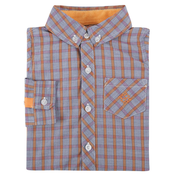 Orange and Grey Check Chambray Shirt - Shopify