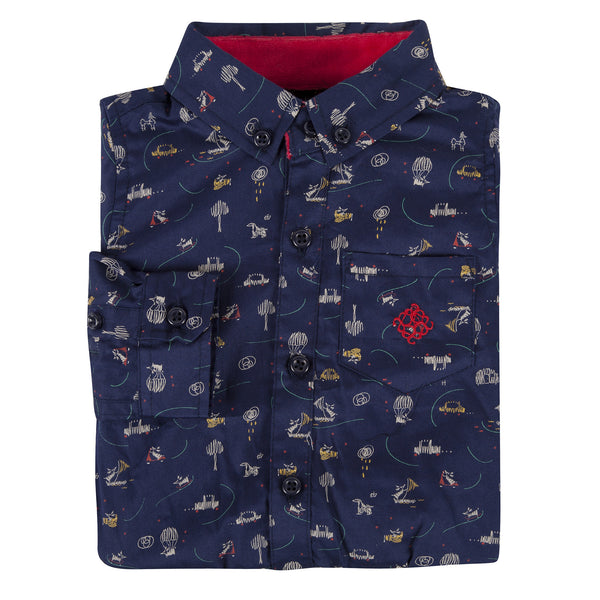 Navy Fun Print Shirt - Shopify
