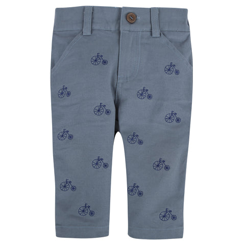 Dusty Blue with Bicycle Twill Pants