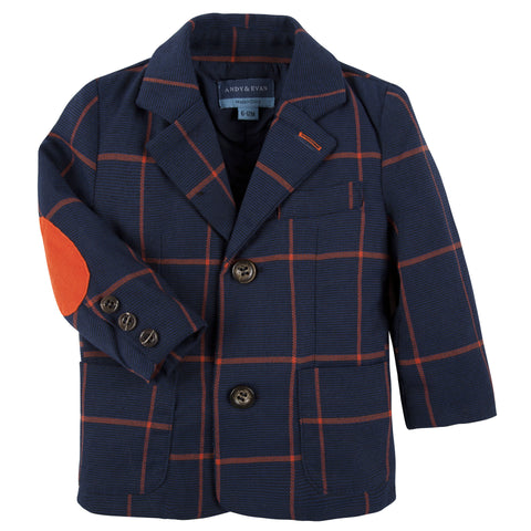 Orange and Navy Check Blazer