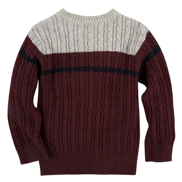 Maroon Cable Knit Sweater - Shopify