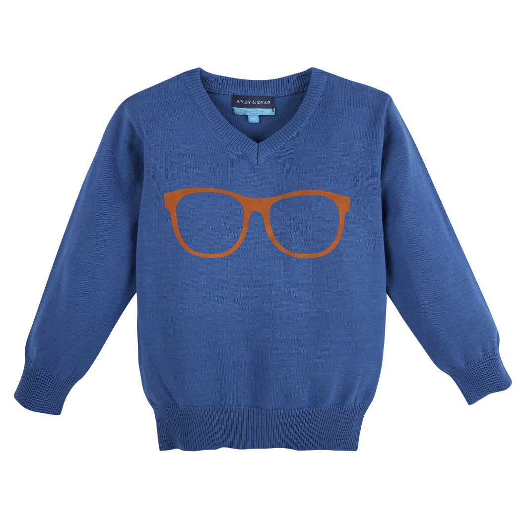 Glasses Sweater Blue