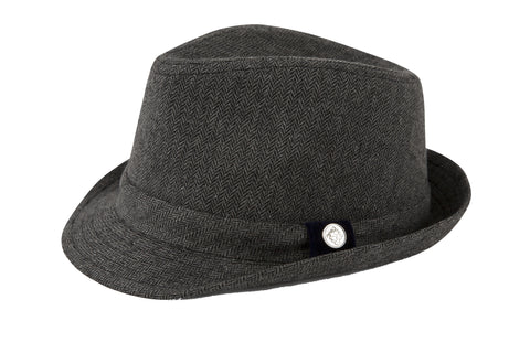 Grey Herringbone Fedora