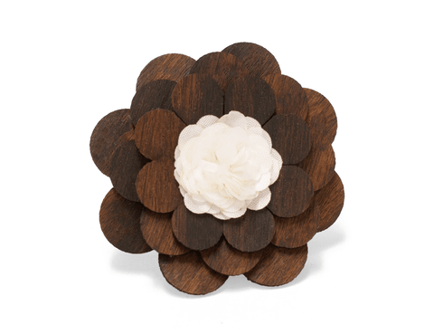 White Dove and Rosewood - Wooden Lapel Flower