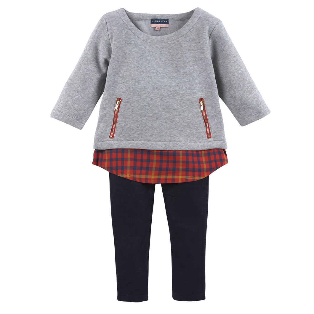 Grey Knit w. Red Plaid Tunic with Navy Legging