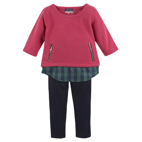 Pink Knit w. Green Check Tunic with Navy Legging