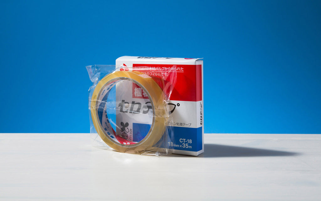 Clear cellulose adhesive tape 18mm x 35m.