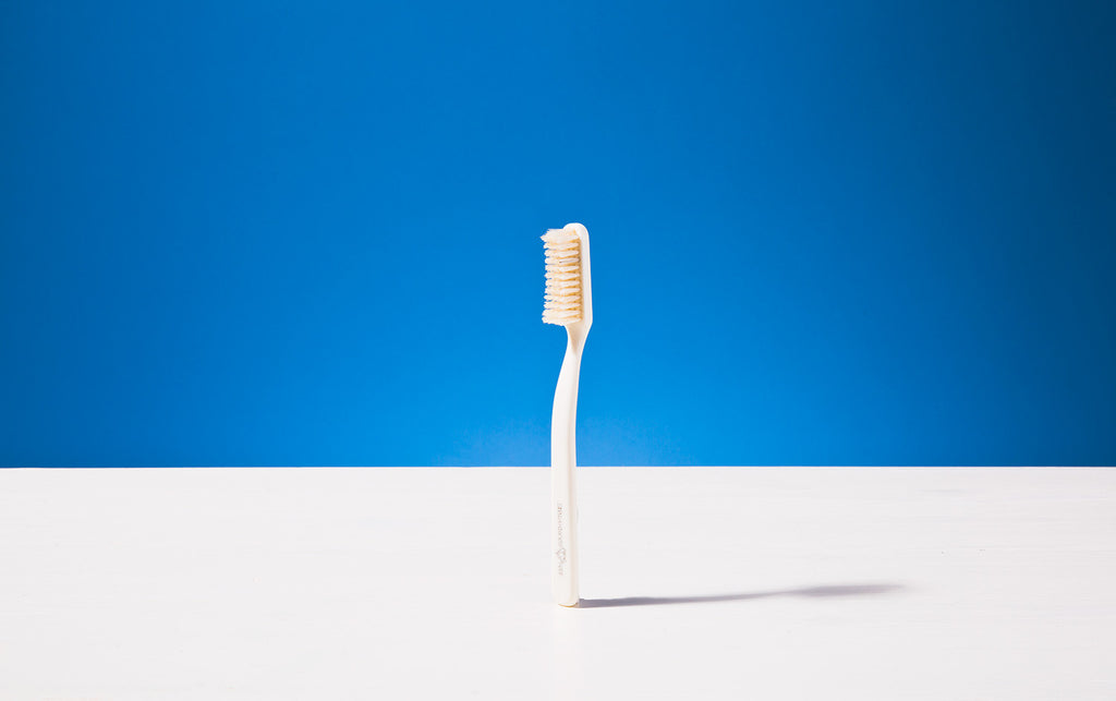 Broad Toothbrush, Ivory colour, Natural bristles