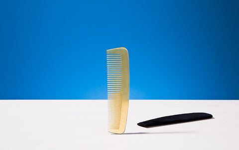 Horn hair comb and case